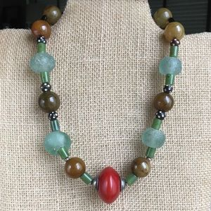 Chunky gemstone necklace handmade